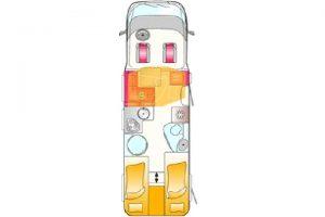 Camping-car LMC H737G , plan d'étage